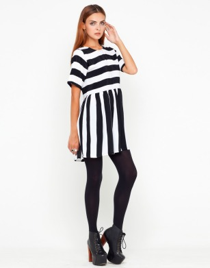 black&white striped dress