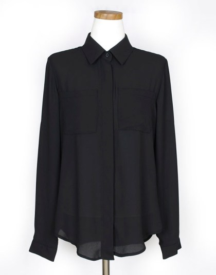 T648-Patch-Pocket-Semi-sheer-Chiffon-Button-Down-Shirt-Blouse-Black-07