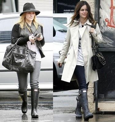 Hilary-Duff-and-Rachel-Bilson-Wearing-Jimmy-Choo-Hunter-Rain-Boots