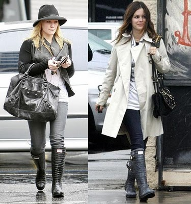 Hilary-Duff-and-Rachel-Bilson-Wearing-Jimmy-Choo-Hunter-Rain-Boots